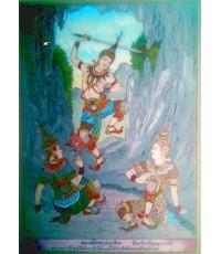 ภาพเขียนสีโบราณหลังแผ่นกระจก ชุด พระเจ้าสิบชาติ 3