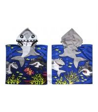 ผ้าขนหนูเด็ก ผ้าเช็ดตัวเด็ก ลายปลาฉลามสีน้ำเงิน