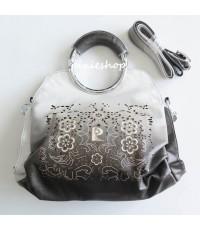 (หมดค่ะ)กระเป๋าถือหนังสีเทาไล่เฉดฉลุลาย มีสายสะพายยาว(ถอดได้) + ถุงผ้า  งานParlontis ฮ่องกง