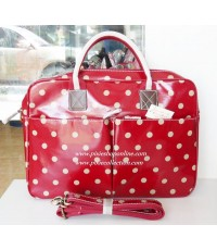 (ของหมด)Candy Flowers กระเป๋าใส่โน๊ตบุ๊ค notebook สีแดงลายจุด สไตล์ Cath Kidston เคลือบกันน้ำ บุนิ่ม