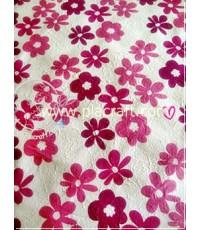 กระดาษสาแบบหนา ลายดอกไม้สีชมพู