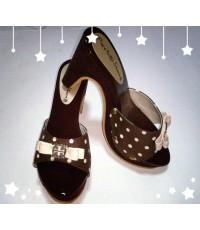 รองเท้าแบบสวม ส้นสูง ผู้หญิง สีน้ำตาล