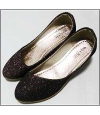 รองเท้าส้นเตารีดยาง ผู้หญิง เนื้อกากเพรช  ไม่มีลาย