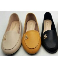 รองเท้าคัชชูหนังสตรี หัวกลม ผู้หญิง ส้นเตี้ย แฟชั่น น่ารัก หนังนิ่ม หนังด้าน