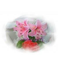 ดอกไม้ผ้าใยบัว ลิลลี่เพ้นท์สี