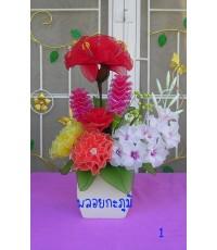 ผ้าใยบัว แจกันดอกไม้สีสวย ๆ 2