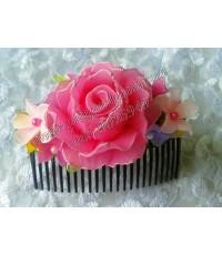 กิ๊บติดผมลายดอกกุหลาบสีชมพู