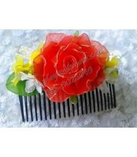 กิ๊บติดผมลายดอกกุหลาบสีแดงสด
