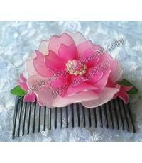 กิ๊บติดผมลายดอกไม้ผ้าใยบัวสีชมพู