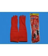 ถุงมือยางแม่บ้านสีแดง ยาว 17นิ้ว
