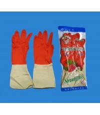 ถุงมือยางแม่บ้านสองสีแดงขาว  ยาว 12นิ้ว