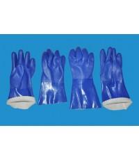 ถุงมือ PVC สีน้ำเงิน ยาว 26 cm. และ 30 cm.