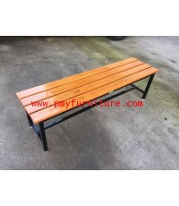 pmy19-14 ม้านั่งไม้สักตีระแนง หน้า 4 ยาว 120 ซม หัวโล้น กว้าง 40 ซม.