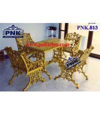 PNK.813 ชุดสนามอัลลอย **ลายองุ่นโบราณ** (สีทองลงดำ)