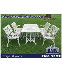 PNK.8529 ชุดสนามอัลลอย ลายสานสุข โต๊ะสี่เหลี่ยม