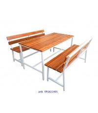 โต๊ะโรงอาหารหน้าไม้สัก ตีระแนงชิด แบบขาตาย ม้านั่งมีพนักพิง ยาว 1.50เมตร kkw23-12