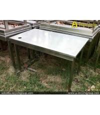 โต๊ะสแตนเลสหน้าเรียบ ขนาด 60x100 ซม. (สินค้ามือสอง)