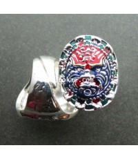แหวนราหูกันชง (ชุบเงินเพ้นท์สี) พระอาจารย์โอ พุทโธรักษา พุทธสถานวิหารธรรมราช จ.เพชรบูรณ์