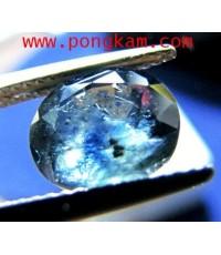 พลอยสด บลูแซฟไฟร์ Blue Sapphire madagasca เจียระไนคม น้ำดี ไฟดี พลอยมีแร่มลทินแท้ดูง่ายหนัก 4 กะรัต