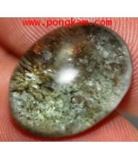 แก้วปวกเขียวหัวเป็ดแท้ + ปวกทอง+ กาบประกายรุ้ง แก้วใสสวย ขนาดหัวแหวน 1.4x1.8ซม