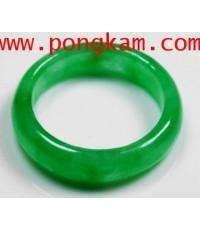 (ขายแล้วครับ) แหวนหยกเจไดท์พม่า ไซต์ผู้หญิง เนื้อเข้มเนียนสวย เนื้อโปร่งแสงทั้งวงเขียวธรรมชาติ