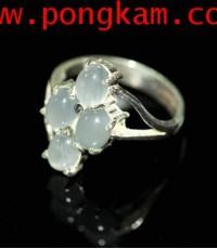 (ขายแล้วครับ) แหวนแก้วฟ้า เถินแท้ เนื้อสวย ตัวเรือนเงินแท้ 92.5 ขนาดแหวน ญ ไซต์ 54-55