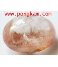 (ขายแล้วครับ)แก้วพุ่มไหมพิรุณสีชมพูอมส้ม พุ่มไหมก้นแก้วขึ้นเต็ม เนื้อแก้วใสสวย ขนาดหัวแหวน 13x16mm.