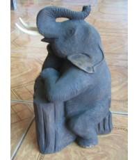 ช้างนั่งบนตอไม้
