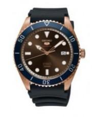 นาฬิกาผู้ชายไซโก้ SEIKO ระบบ automatic รุ่น SRPB96K สีทองชมพู น้ำเงิน ทรงกลม สายยาง ของแท้ประกัน 1 ป