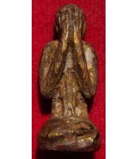 พระปิดตาหลวงปู่ศุข วัดปากคลองมะขามเฒ่า เนื้อไม้แกะ ลงรักปิดทอง สวยมาก ขนาดกว้าง1ซม. สูง3ซม. ฮ.130
