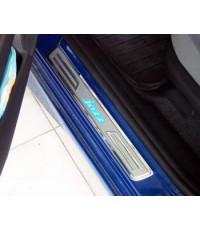 ชายบันไดสแตนเลส Honda New Jazz มีไฟ LED สีฟ้า