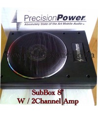SubBox 8นิ้ว มีแอมป์ในตัวเพิ่มอีก 2Channel ยี่ห้อ Precision Power ระดับ Hi Class