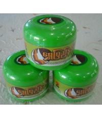 แป้งพม่า ทานาคากระปุกใหญ่ เนื้อแป้งอัดแข็ง กลิ่นมะนาว (3 กระปุก)