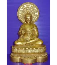 พระบูชาประทานพร มีประภามณฑล ขนาดหน้าตัก 5 นิ้ว ปิดทองเก่าเต็มองค์ สภาพสวยมากๆ