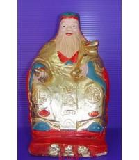 รูปหล่อบูชาเจ้าที่ (ตี่จู้เอี้ย) หรือศาลเจ้าที่จีน ปิดทอง ลงสี ยุคเก่า สูง 15 ซม. หายาก สภาพสวยมากๆ
