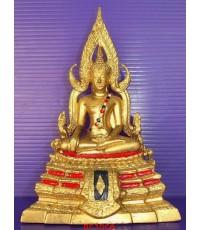 พระพุทธชินราชบูชา กะไหล่ทอง ขนาดบูชาตั้งหน้ารถ ผิวหิ้ง ยุคเก่า  หน้าตัก 5 ซม. หายาก พระสภาพสวยมากๆ