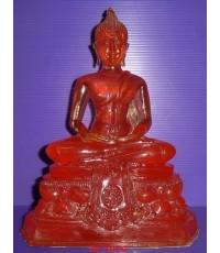 พระพุทธรูปบูชาปางสมาธิ วัดปากน้ำภาษีเจริญ ธนบุรี เนื้อเรซิ่นใสสีแดง ยุคเก่า หน้าตัก 5 นิ้ว ผิวหิ้ง