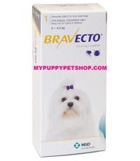 Bravecto สุนัขหนัก 2-4.5 กก. ยากินกำจัดเห็บหมัด ไรขี้เรื้อน ไรหู กันได้นาน 3 เดือน  (กล่อง 1 เม็ด)