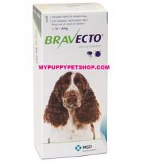 Bravecto สุนัขหนัก 10-20 กก. ยากินกำจัดเห็บหมัด ไรขี้เรื้อน ไรหู กันได้นาน 3 เดือน  (กล่อง 1 เม็ด)
