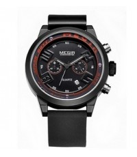 Megir Watch นาฬิกาข้อมือชาย สีดำ สายเรซิ่น