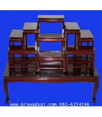 โต๊ะหมู่บูชา ไม้สัก หมู่ 9 หน้า 8 สีโอ๊คขัดมัน (TP18K)