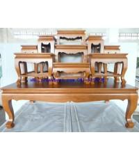 โต๊ะหมู่บูชา หมู่ 9 หน้า 8 ขาสิงห์ สีไม้สัก (KT85K)