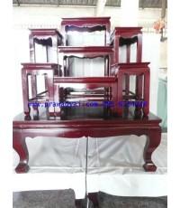 โต๊ะหมู่บูชา หมู่ 7 หน้า 8 ขาตรง สีโอ๊ค (KT60K)