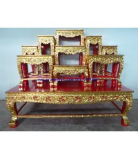 โต๊ะหมู่บูชา หมู่ 9 หน้า 10 ขาสิงห์ แกะลายดอกไม้ ปิดทอง (TP23K)