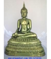 พระบูชา พระพุทธรูปปางสะดุ้งมาร ขนาด 5 นิ้ว สีเขียว