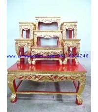 โต๊ะหมู่บูชา หมู่ 7 หน้า 8 ขาสิงห์ แกะลายไทย ปิดทอง (KT12K)