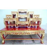 โต๊ะหมู่บูชา หมู่ 9 หน้า 8 ขาสิงห์ แกะลายไทย ปิดทอง ร่องสี (KT115K)