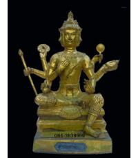 พระพรหม หน้าตัก 9 นิ้ว ลงรักทาชาต ปิดทองเก่า  (พระบูชาองค์ที่  187)