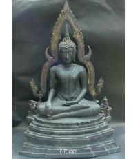 พระพุทธชินราช หน้าตัก 9 นิ้ว  ผิวรมดำ สภาพสวย (พระบูชาองค์ที่ 238)