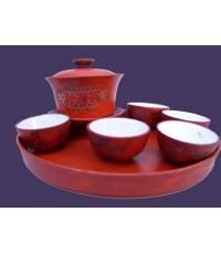 ชุดน้ำชาจีน สภาพสวยไม่มีชำรุด ไม่ทราบอายุที่แน่นอน แต่เก่า